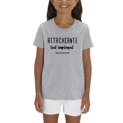 T-Shirt premium - Manche Courte - Fille - Gris Chine - ATTACHIANTE TOUT SIMPLEMENT