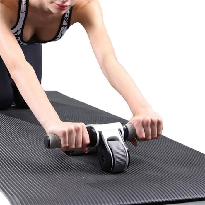 Rouleau à double roue à roulettes abdominales Équipement de sport à la maison utilisée pour l'abdomen noir