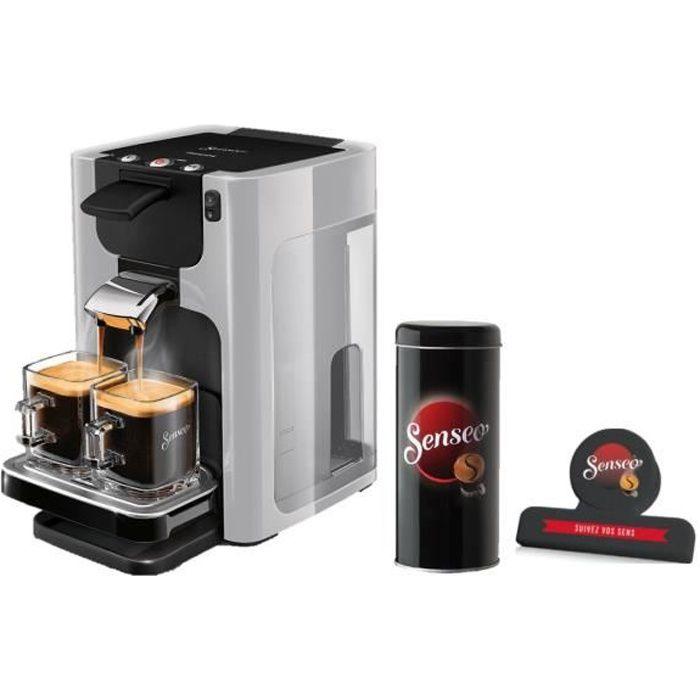 PHILIPS HD7866/11 SENSEO Quadrante - Machine à café à dosettes + Boîte de rangement dosettes + Pince fraîcheur - Gris clair