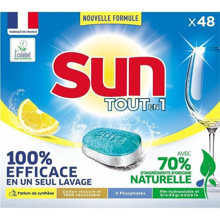 LOT DE 4 - SUN Tout en 1 - 48 Tablettes lave-vaisselle au citron