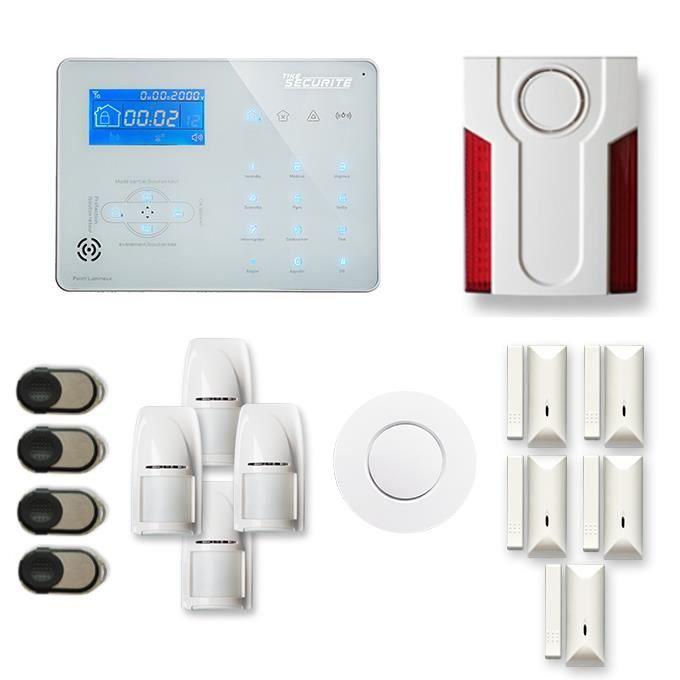 Alarme maison sans fil ICE-B 4 à 5 pièces mouvement + intrusion + détecteur de fumée + sirène extérieure - Compatible Box internet