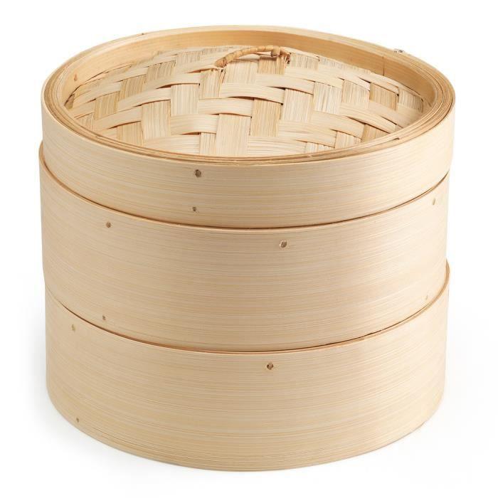 TOM panier vapeur deux étages 20 cm bambou brun