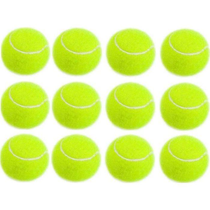 PRATIQUE BALLES DE TENNIS BALLES DE RÉDUCTION CRICKET CHIEN JOUET BALLES ENTRAÎNEMENT POUR ADULTS ENFANTS EXERCICE JAUNE 12PCS