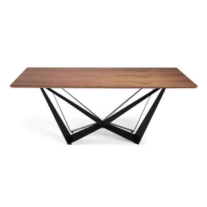 Table de repas rectangulaire Noyer/Noir mat - NOGU - L 200 x l 100 x H 75
