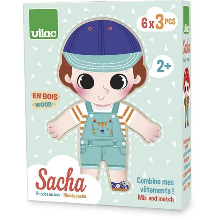 Puzzle en bois Sacha à habiller Vilac Multicolore
