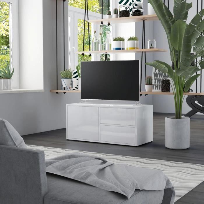 HUI Meuble TV Blanc brillant 80 x 34 x 36 cm en Aggloméré
