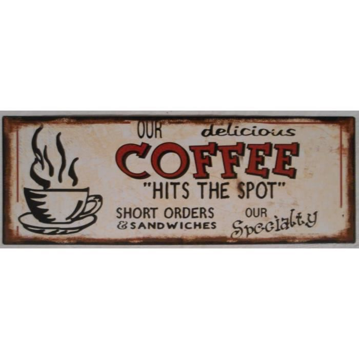 Plaque d corative en m tal coffee caf 36x13 cm achat for Plaque murale decorative metal