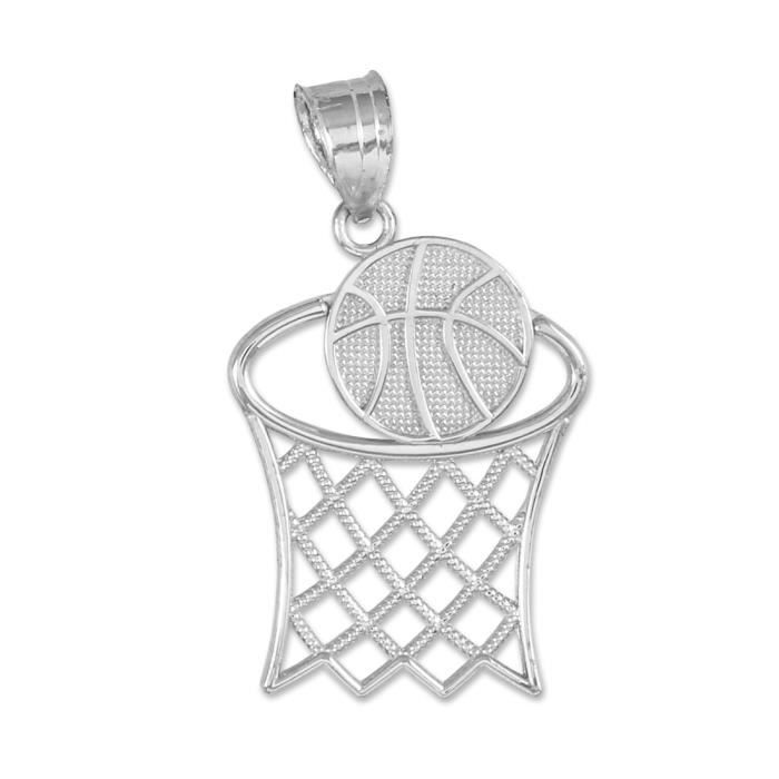Pendentif 10 ct 471/1000 Or Blanc BasketballBande-