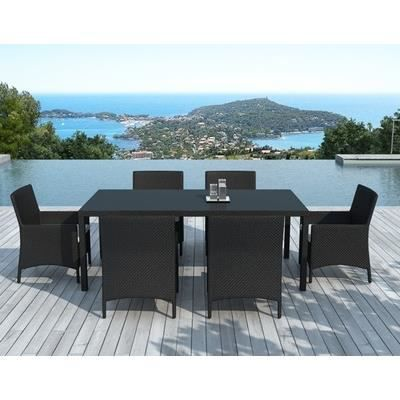 table salle manger de jardin en r sine tress achat vente salon de jardin table salle. Black Bedroom Furniture Sets. Home Design Ideas