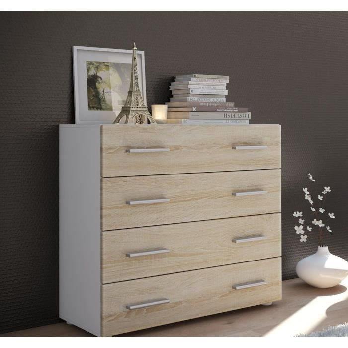 commode 4 tiroirs blanc et bois brut 76 cm achat vente commode de chambre commode 4 tiroirs. Black Bedroom Furniture Sets. Home Design Ideas