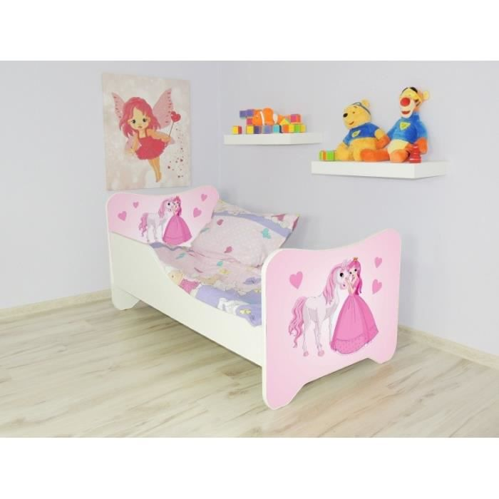 lit enfant princesse sommier matelas140x70cm achat. Black Bedroom Furniture Sets. Home Design Ideas