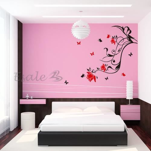 sticker mural d co fleur papillon rouge en pvc pr maison achat vente stickers cdiscount. Black Bedroom Furniture Sets. Home Design Ideas