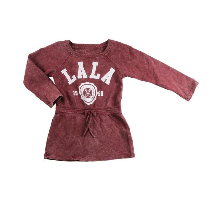Robe sweat vintage - fille - bordeaux