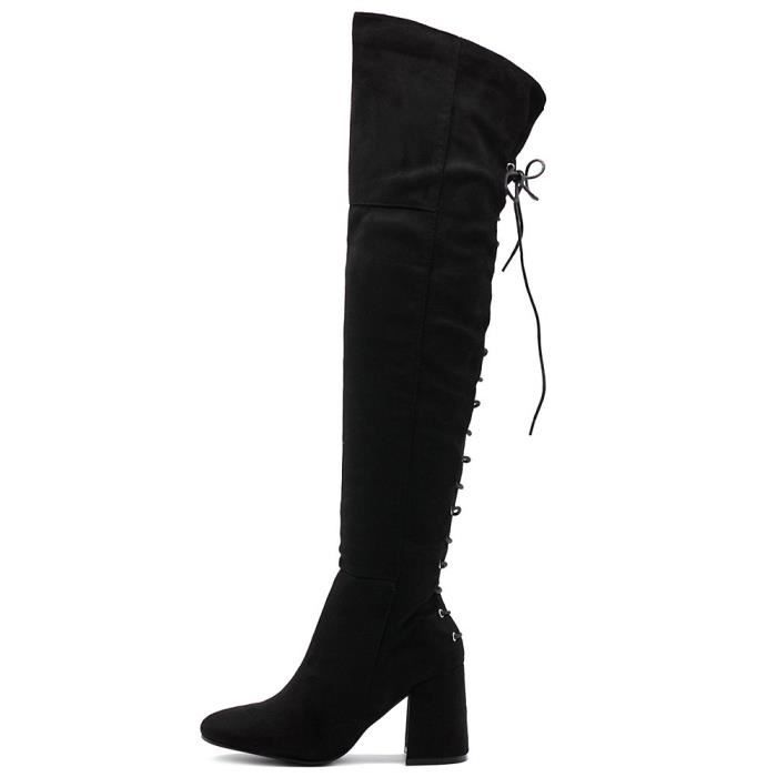 Shoe Faux Suede Back Lace-up Over The Knee Zip Up Long Boots IFLZ6 Taille-40