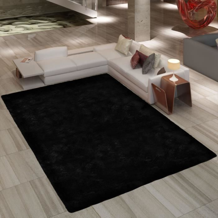 tapis poil long noir 80 x 150 cm 2600g m2 achat. Black Bedroom Furniture Sets. Home Design Ideas