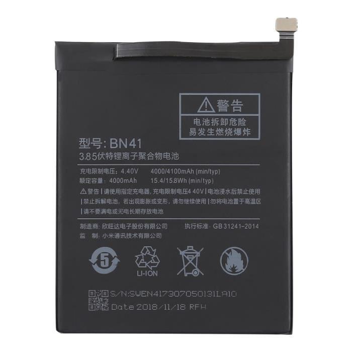Batterie téléphone Batterie Li-Polymère BN41 4000mAh pour Xiaomi Redm