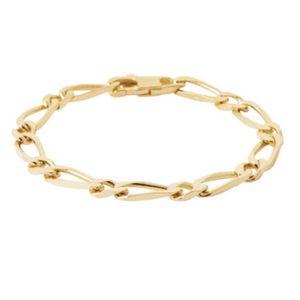BRACELET - GOURMETTE Bracelet Large Figaro 21 cm x 8MM Plaqué or 18 Car