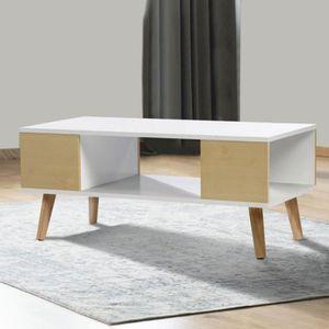 TABLE BASSE Table basse EFFIE scandinave bois blanc et imitati