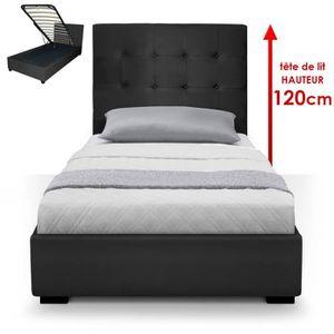 STRUCTURE DE LIT Lit Coffre Trevene + Sommier 90cm Noir