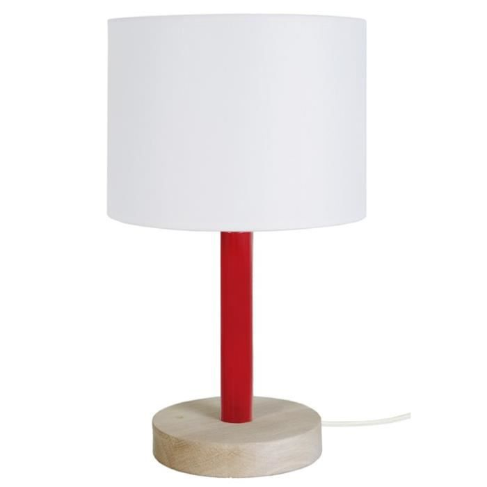 Lampe A Chevet Base Ronde Katita E14 25 W Bois Rouge Et Blanc