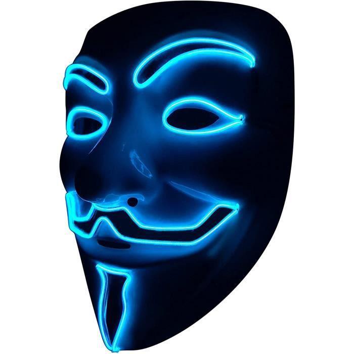 Lumière Masques LED Masque V Vendetta Masque EL Fil s'allume pour Halloween Costume Cosplay Party(V-Blue)