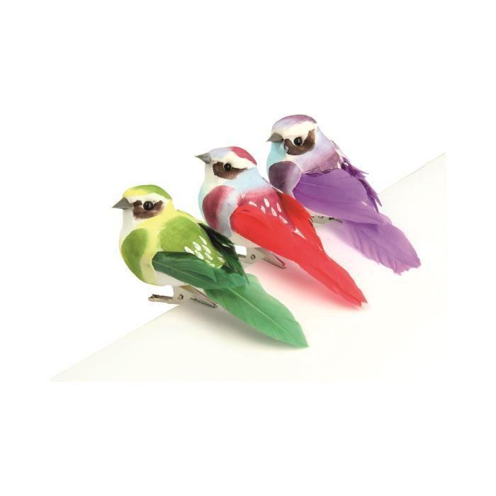 Oiseaux décoratifs Multicolore 3 pièces - Artémio Multicolore - Assort.