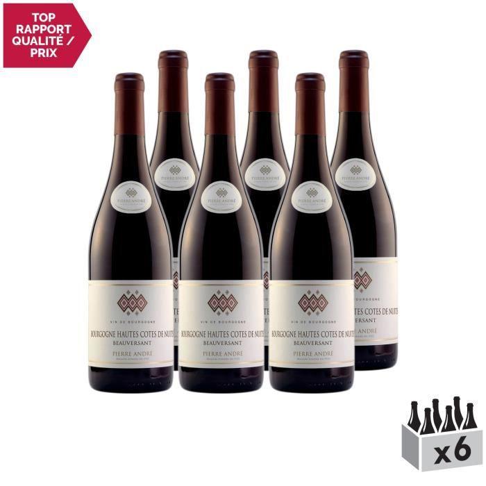 Bourgogne Hautes Côtes de Nuits Beauversant Rouge 2018 - Lot de 6x75cl - Pierre André - Vin AOC Rouge de Bourgogne - Cépage Pinot