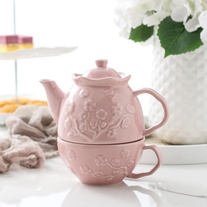 MALACASA, Série Sweet.Time, Théière en Porcelaine Combi-Set avec 1 Théière 1 Tasse 1 Soucoupe Service à Thé Rose