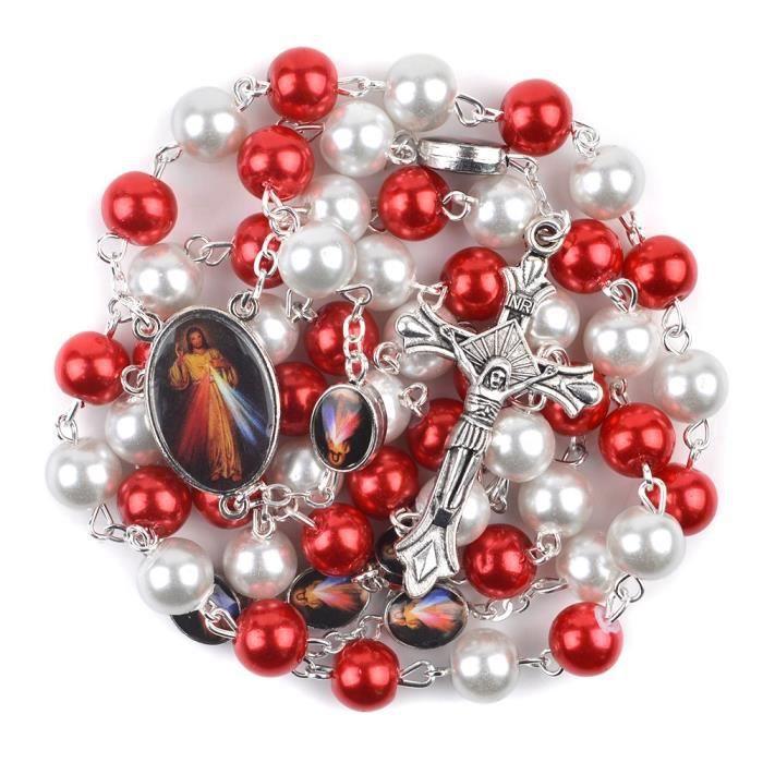Perles En Verre Bleu Rouge Chapelet Divinel Cadeaux Perles Rouge