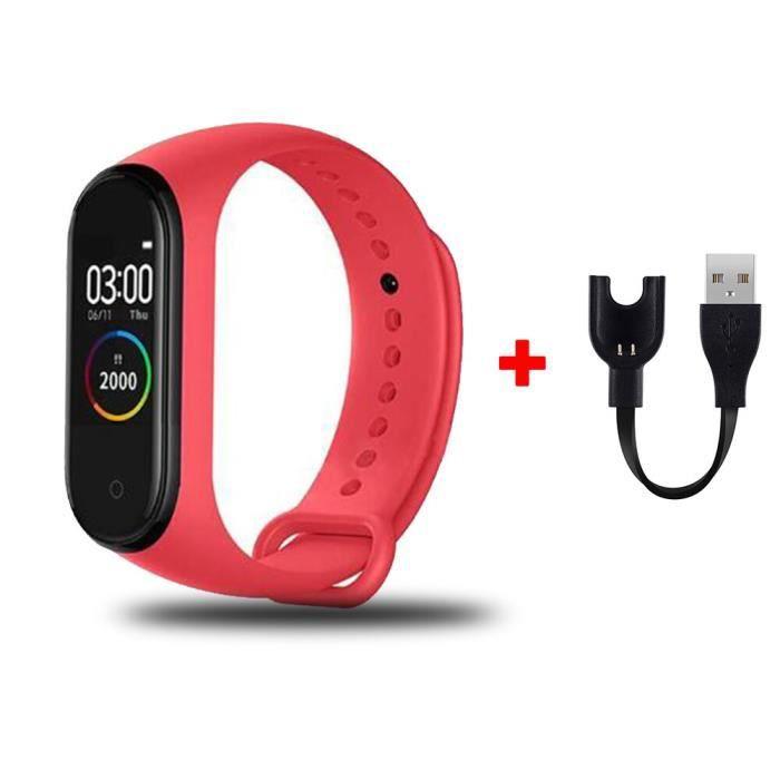 Montre de fitness M4 connectée et waterproof,bracelet intelligent, podomètre, tracker de fréquence cardiaque et [70E7DBC]