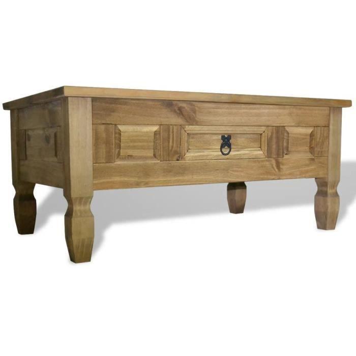 Table Basse de Salon Design Table de Salon Scandinave contemporain Pin mexicain Gamme Corona 100 x 60 x 45 cm