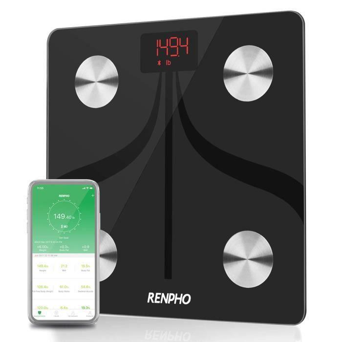 Pèse Personne Impédancemètre, RENPHO Balance Connecté, Pèse-personne Bluetooth, Balance Salle de Bain Numérique Rechargeable USB