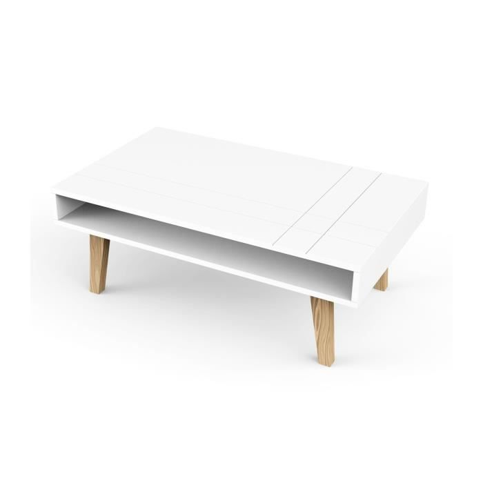 Table basse blanche rectangulaire au design scandinave - CaliCosy Blanc