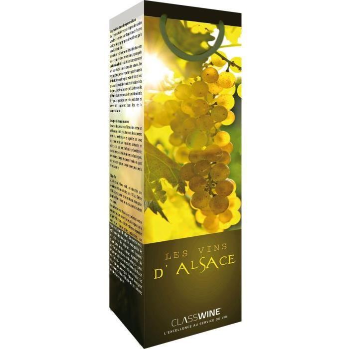 CLASSWINE Pochette pour 1 bouteille vin d'Alsace Grappe
