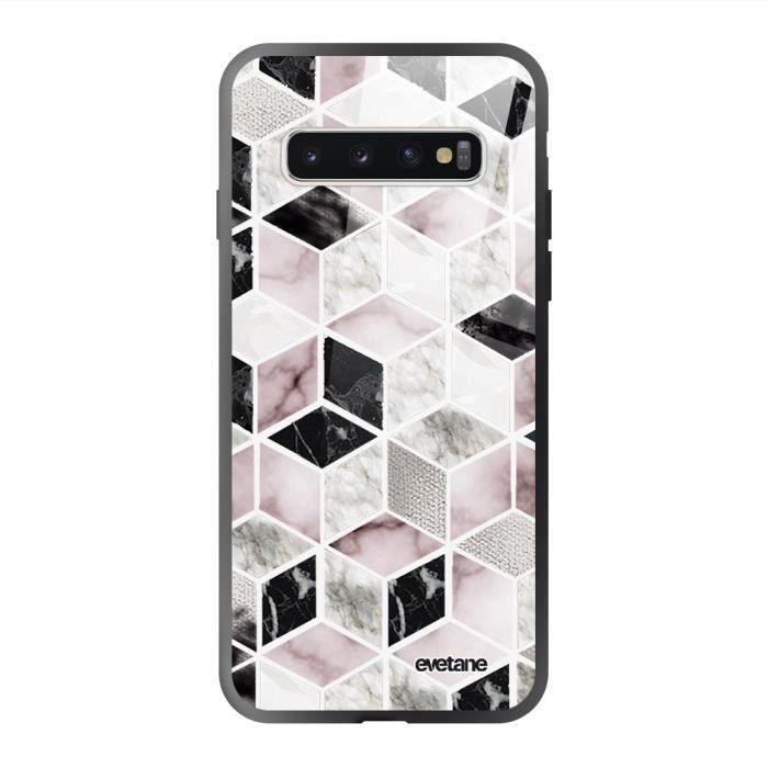 Coque en verre trempé Samsung Galaxy S10 Cubes Géométriques Ecriture Tendance et Design Evetane