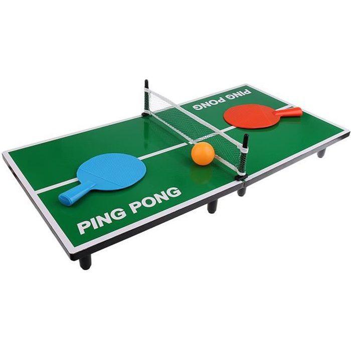 Hobby Concept Mini Table de ping Pong 62 x 30,5 x 7 cm avec 2 Raquettes, 1 Balle et Un Filet Tennis de Table de Bureau Cadeau de Noë
