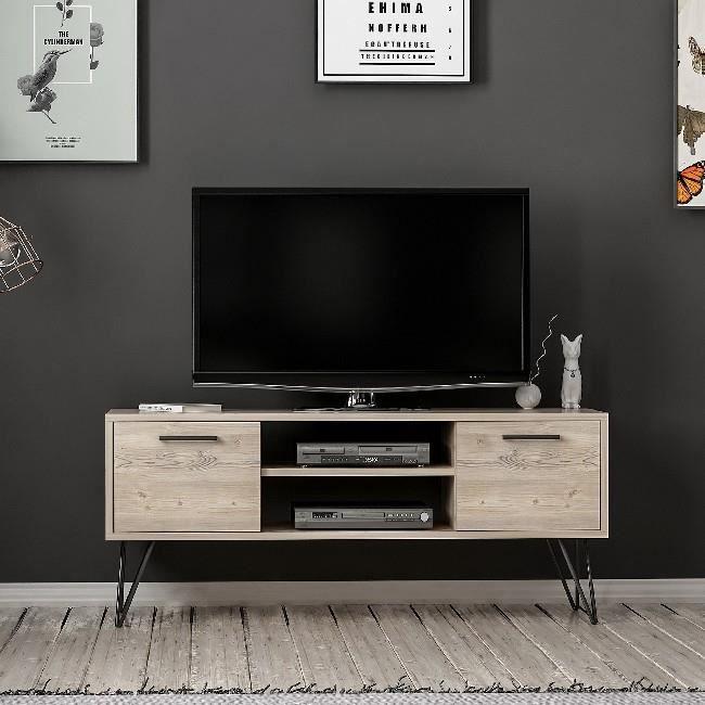 HOMEMANIA Meuble TV Almira Moderne - avec portes, étagères - par Salotto - Bois, Noir en Bois, 120 x 35 x 50 cm,