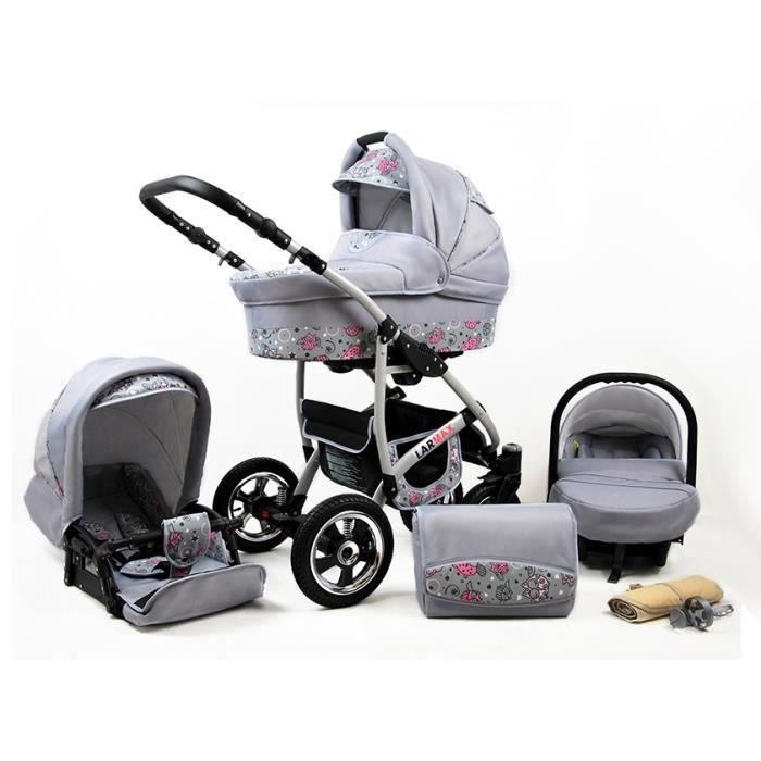 Lux4kids Poussette combinée Landau roues pivotantes Poussette Canne Nacelle Accessoires Larmax Pink Owl 3en1 avec siège bébé