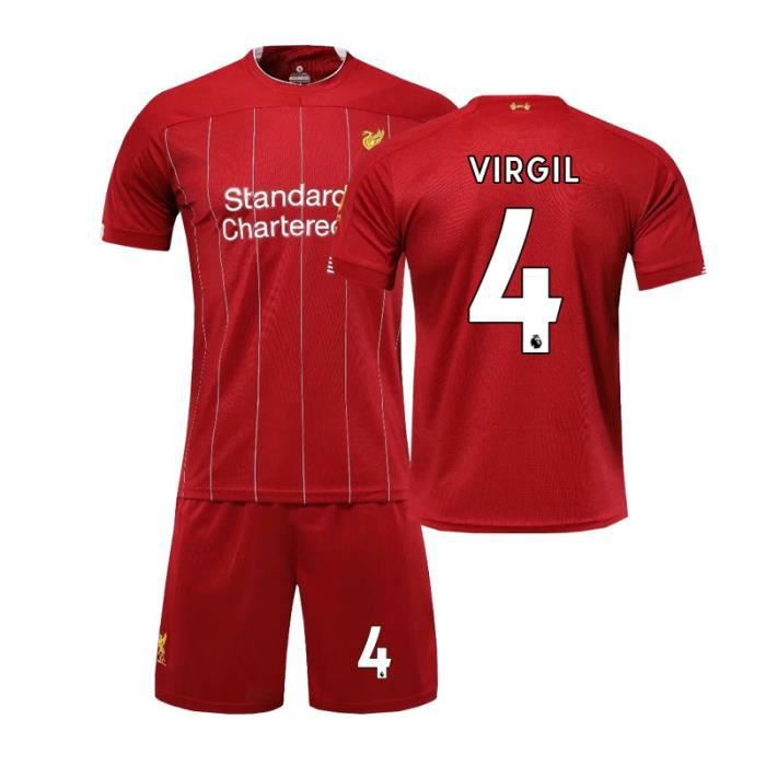 Premier League Liverpool NO.4 VIRGIL Jersey Maillots Foot et Shorts de Football Homme-Enfant-Rouge