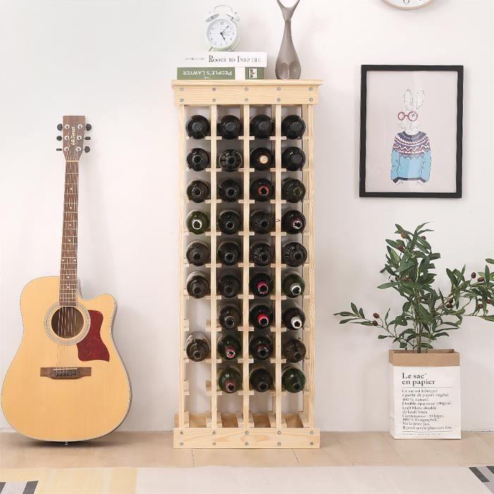 Étagère à Vin Casier à 44 Bouteilles en Bois de Pin Robuste Modulable 46,5 x 27,5 x 113 CM