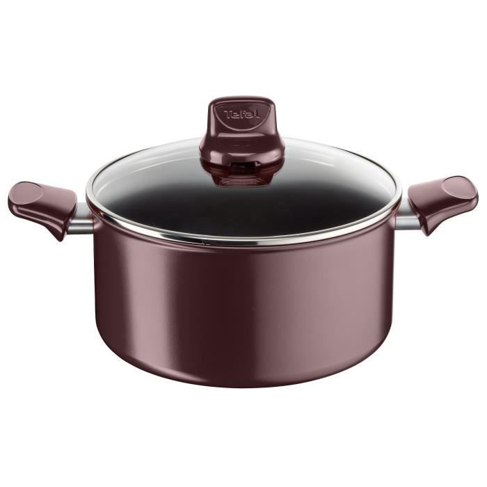 TEFAL DARK RUBY Ind Faitout C4024612 24cm Tous feux dont induction