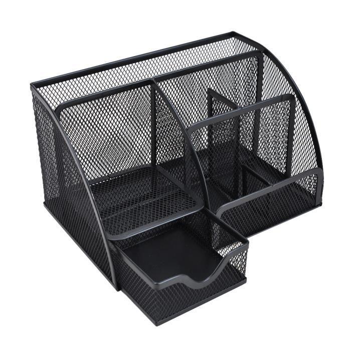 Multi-fonction Organisateur de Bureau Porte-stylo Métal maille avec 6 compartiments +1 tiroir Noir
