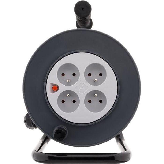 ZENITECH Enrouleur HO5VV-F - 4 prises - 3G1mm² + coupe-circuit - 25 m