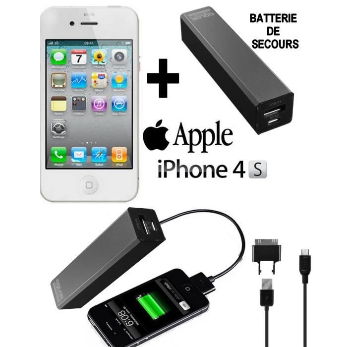 pack power apple iphone 4s blanc 16go batterie achat. Black Bedroom Furniture Sets. Home Design Ideas