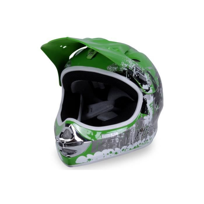 casque cross moto enfant x treme sport couleur vert taille m achat vente casque moto. Black Bedroom Furniture Sets. Home Design Ideas