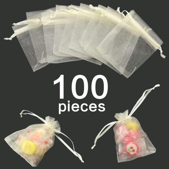 100 PCS Grands Sacs en Organza Blanc 15 cm x 20 cm Sacs-cadeaux en Organza 5,9 `` x 7,8 Pochettes /à Bijoux Sacs de Bonbons pour les Cadeaux de F/ête de Mariage