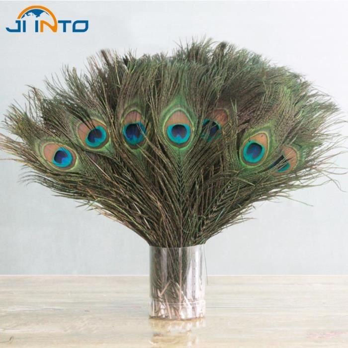 Vente en Gros 10-100pcs Vrai Blanc Plume de paon plumes sur 10-32 in