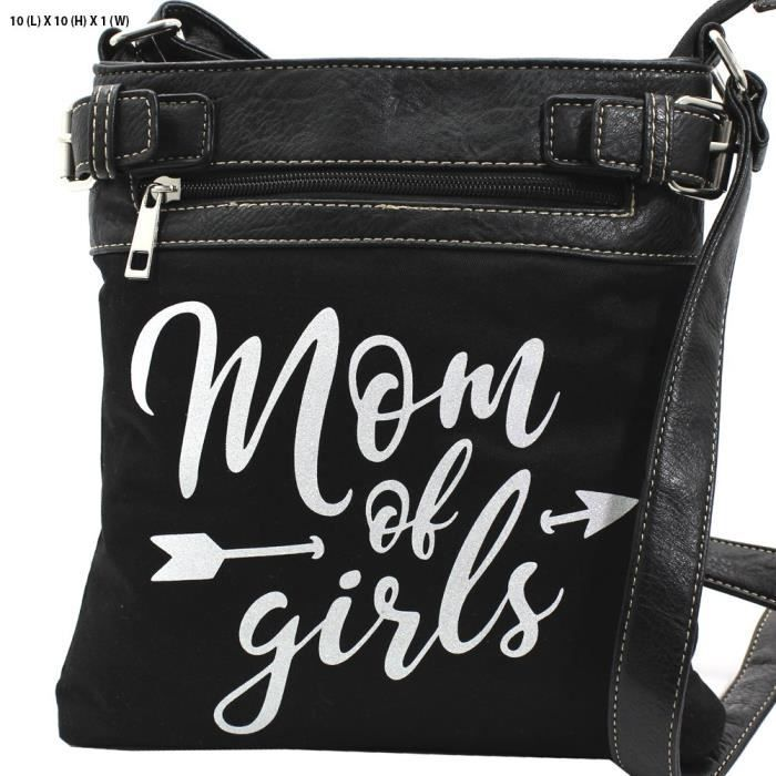 Mom Of Girls White Glittering Concealed Carry Gun Cross Body Messenger Bag Purse OVXQF