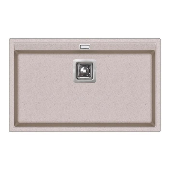 Evier rectangle sans egouttoir granit beige achat for Evier cuisine beige