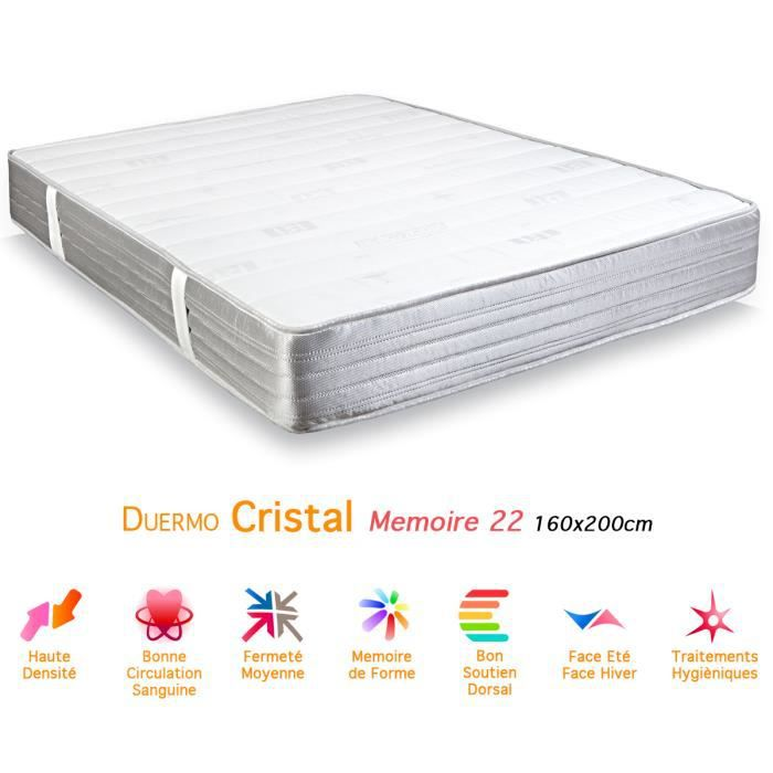 matelas duermo cristal m moire de forme 22 160x200 achat. Black Bedroom Furniture Sets. Home Design Ideas